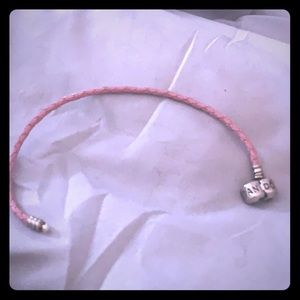 Pandora pink leather braided bracelet